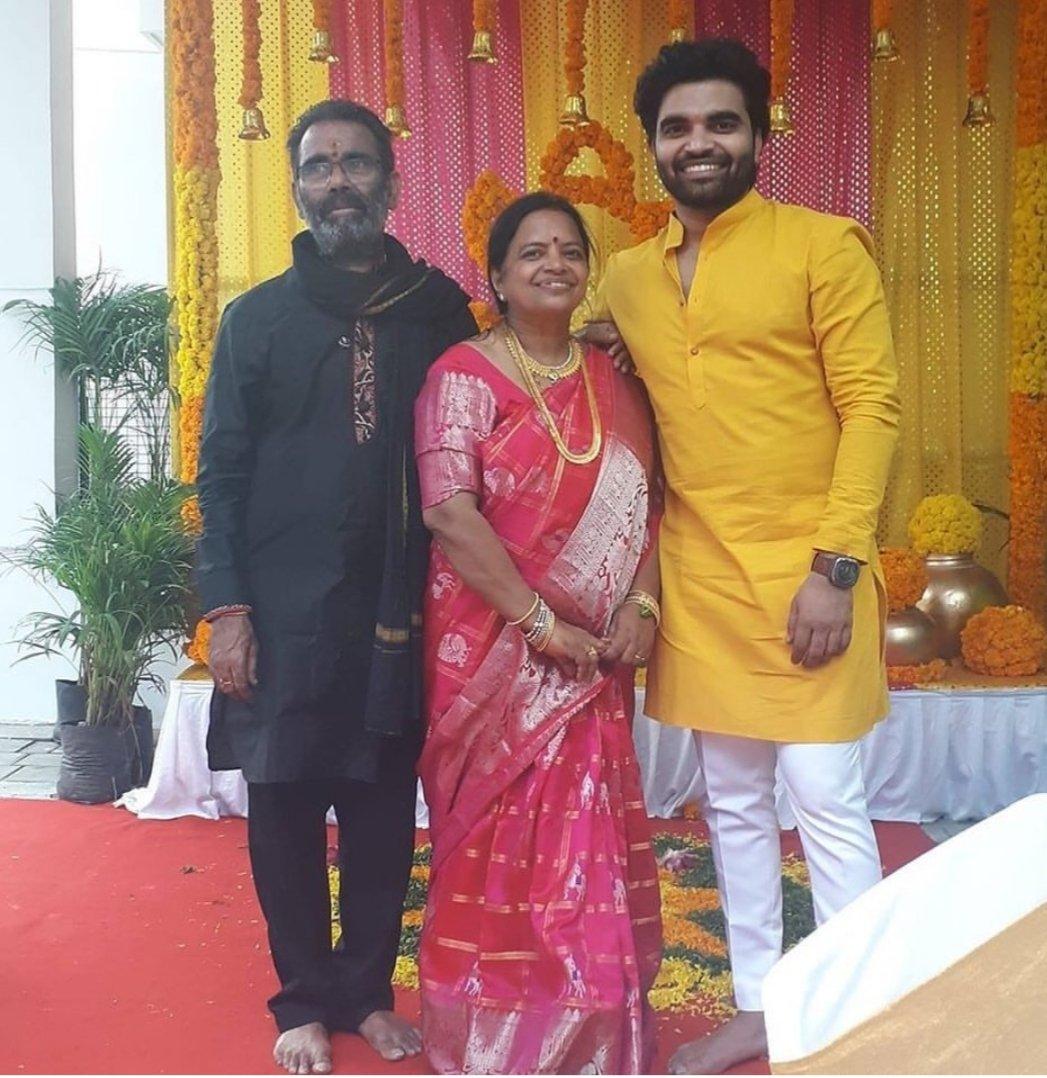 Pradeep Machiraju with his parents