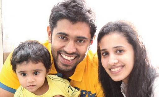 Nivin pauly and his wife Rinna Joy (Director OF Pauly Junior Private Limited) and his child