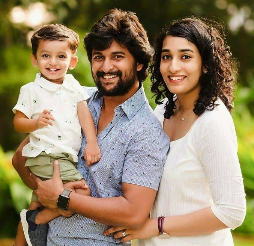 Nani actor image with wife and child