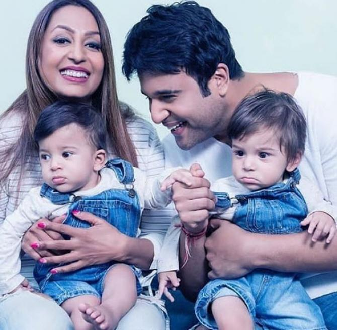 Krushna Abhishek his wife and sons