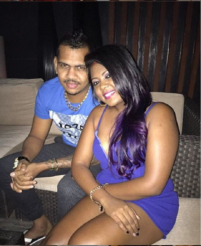 Sunil Narine with his wife