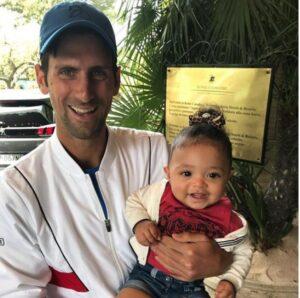 Novak Djokovic with daughter